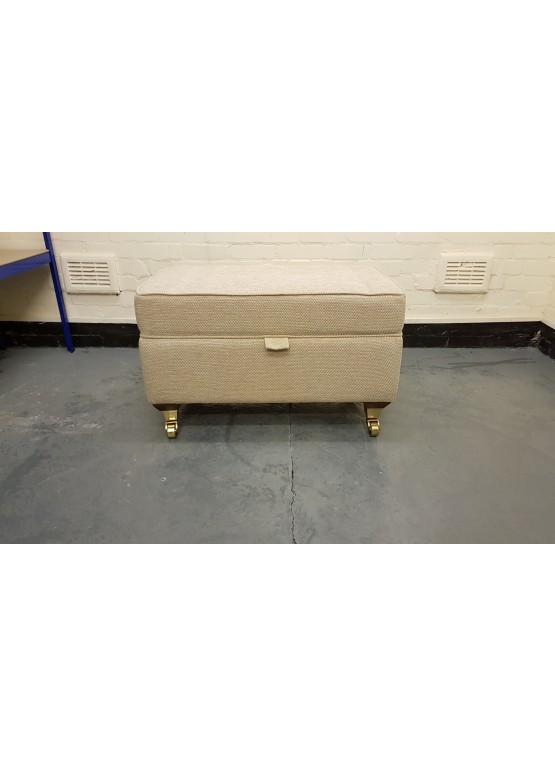 Ex-display Valencia natural plain fabric large storage footstool