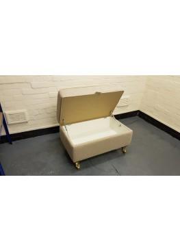 Ex-display Valencia natural plain fabric large storage footstool