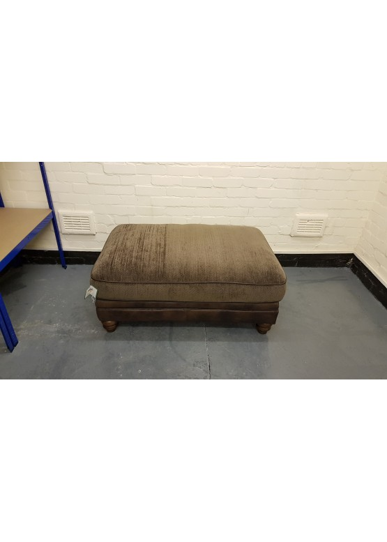 Ex-display Lawrence brown leather and fabric large footstool