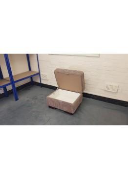 Ex-display light brown fabric rectangular storage footstool