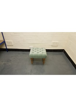 Ex-display Valentin smart velvet sage fabric small footstool