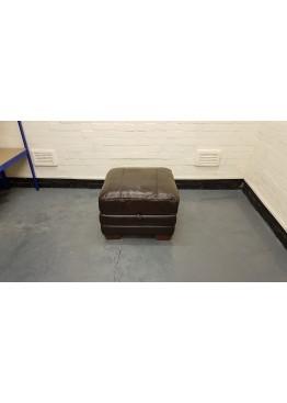 Ex-display Carolina brown leather storage footstool