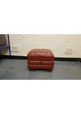Ex-display Carolina red leather storage footstool