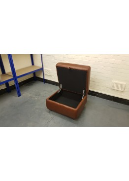 Ex-display Compact collection brown leather storage footstool
